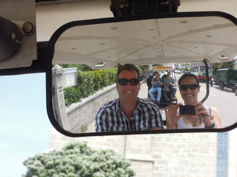Martyn Sound and Mary-Ann on the St Mary's golf buggies