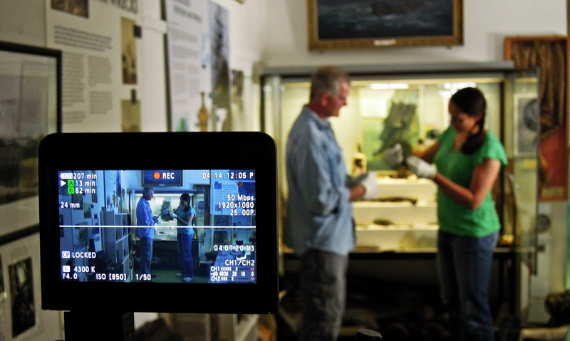 Filming in the Scilly Museum with Todd Stevens, keen Colossan