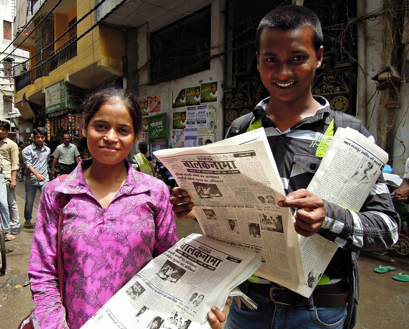 Shanno and Vijay with the 47th edition of Children's Voice